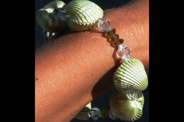 Natural Pearlescent Shell and Olive Green Peridot Bracelet