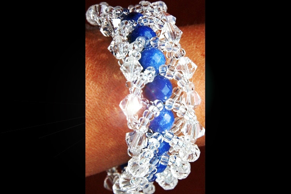 Intricately Weaved Blue Sapphire and Swarovski Crystal Bracelet