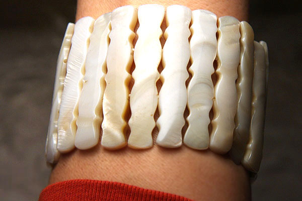 Champagne Mother of Pearl Carved Bracelet