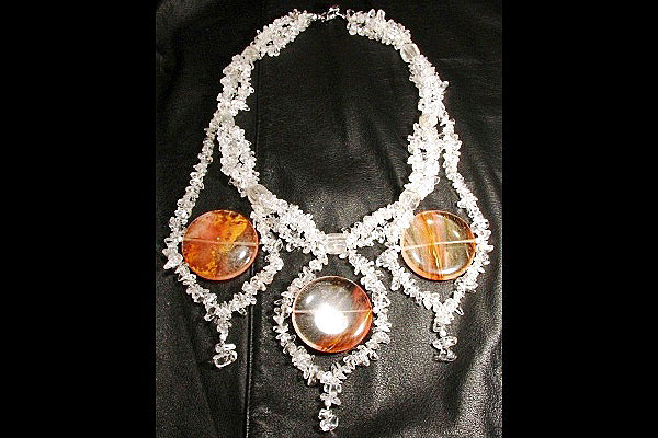 Volcano Cherry Quartz Chandelier Necklace XXL