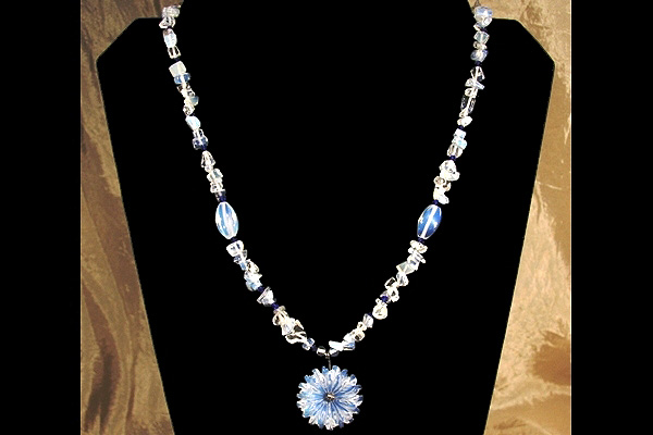 Delicate Opalite Flower with Cobalt Blue Crystals