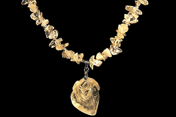 Carved Citrine Gemstone Necklace
