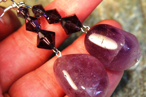 Big Amethyst Stone and Swarovski Crystal Sterling Silver Earrings
