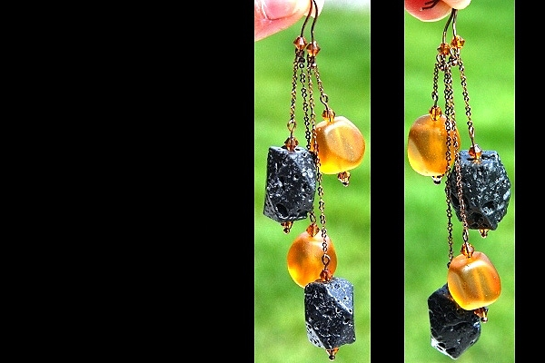Amber Frosted Glass Chunks and Black Lava Stone Seesaw Copper Chain Earrings