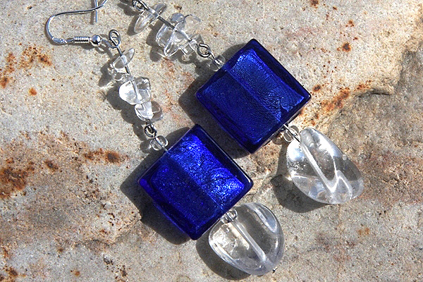 Cobalt Blue Silver Leaf Murano Glass and Rock Quartz Sterling Silver Earrings