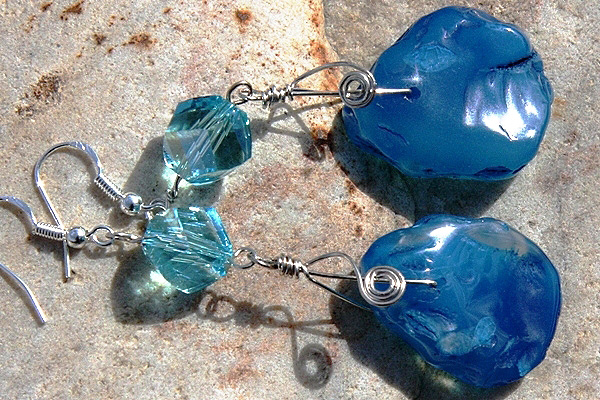 Chunky Rough Aqua Blue Agate Stone Sterling Silver Wrapped Earrings