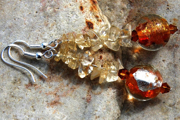Citrine and Amber Silver Leaf Murano Glass Ball Sterling Silver Earrings