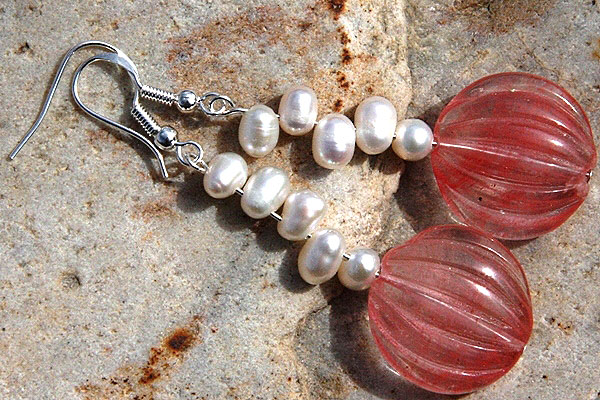 Carved Watermelon Quartz with Pearls Sterling Silver Earrings