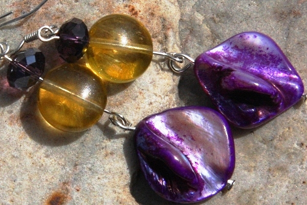 Citrine with Purple Mother of Pearl Sterling Silver Earrings