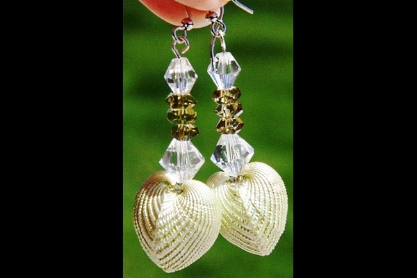 Fascinating Natural Pearlescent Shell and Olive Green Peridot Sterling Earrings