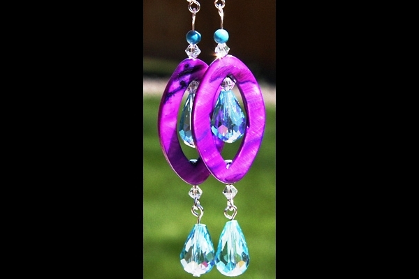 HOT Purple Mother of Pearl with Turquoise and Aqua Swarovski Crystal Drops