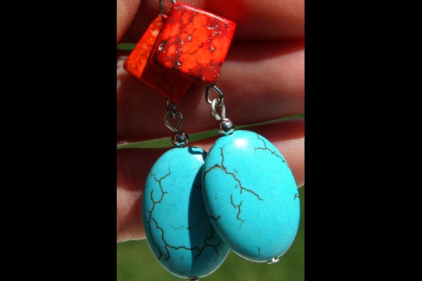 Stunning Bright Red and Natural Blue Turquoise Gemstone Sterling Silver Earrings
