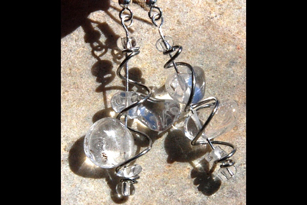 Rock Quartz Wrapped VORTEX Sterling Silver Earrings