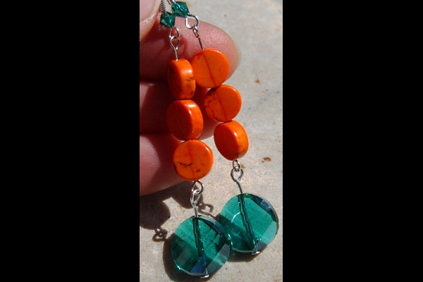 Rich Orange Turquoise and Persian Green Swarovski Crystal Sterling Earrings