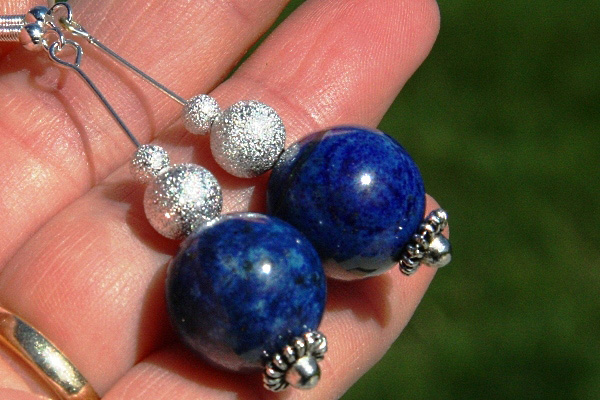 Huge Blue Lapis Lazuli and Silver Stardust Spheres Sterling Silver Earrings