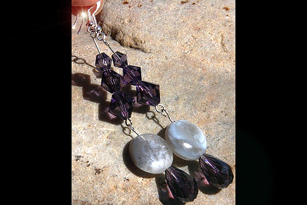 Natural Brazilian Agate and Amethyst Swarovski Crystal Long Dangle Earrings