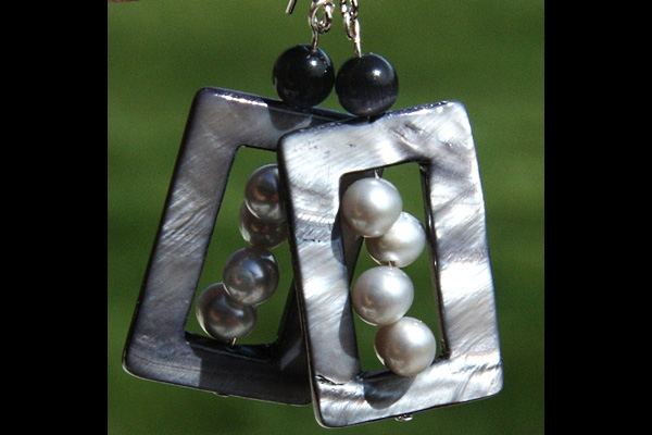 Contemporary Silver Perl Sterling Silver Earrings