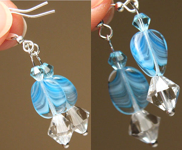 Petite Aqua Blue Wave Earrings