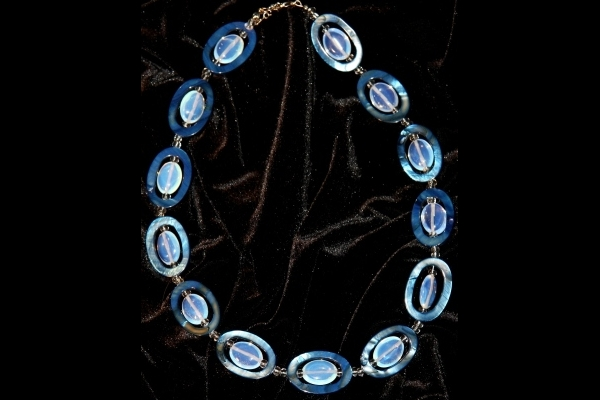 Opalite and Royal Blue Mother of Pearl Gemstone Necklace