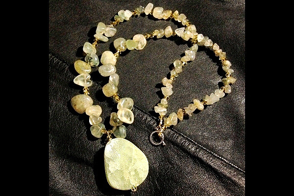 Natural Green Garnet with Two-Sided Green and White Drusy Crystal