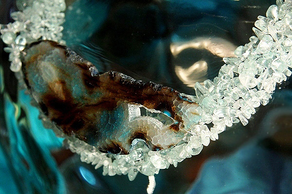 Intense Dragon Vein Agate Nested in Brazilian Aquamarine Crystals