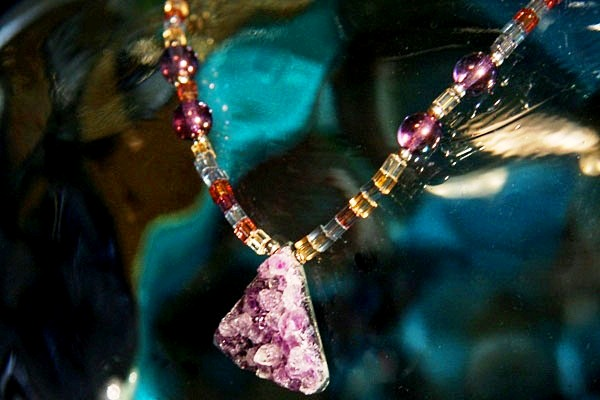 Rough Amethyst Crystal on Faceted Bohemian Art Glass Necklace