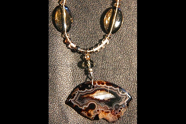 Agate with Black Lolite Quartz Gem Necklace