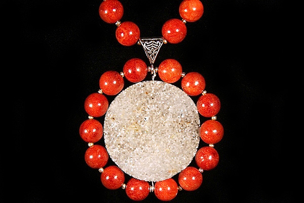 Drusy Quartz Encircled by Red Sponge Coral XL