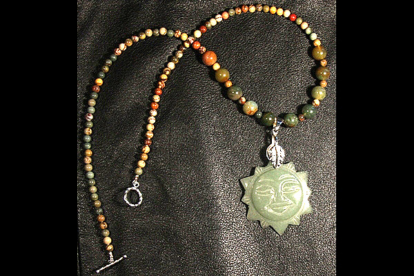 Green Jade Sun with Picture Jasper and Indian Agate