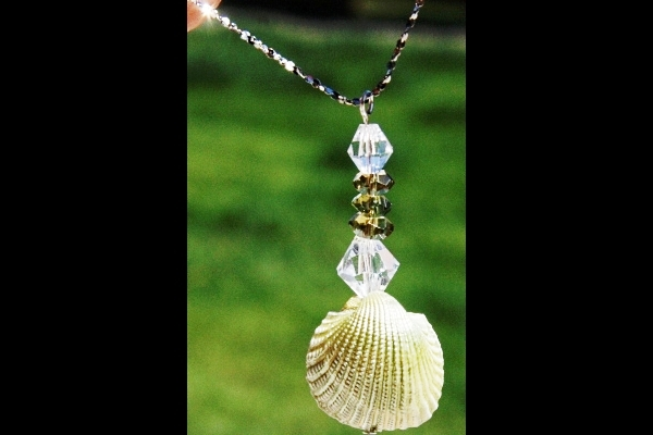 Petite Natural Pearlescent Shell and Olive Green Peridot Sterling Necklace