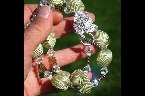 Natural Pearlescent Shell and Olive Green Peridot Swarovski Crystal Necklace XL