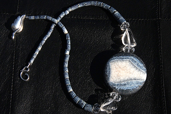 Genuine Blue Coral Necklace with Huge Frosted Blue Agate and Clear Rock Quartz