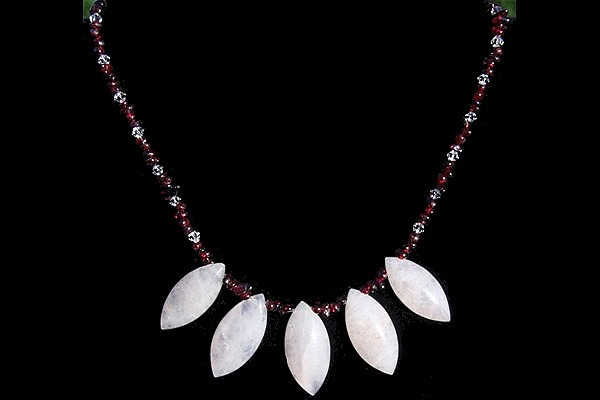 Tiny Genuine Red Garnet and Clear Swarovski Necklace with Rose Quartz