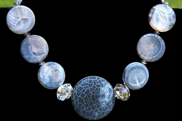 Frosted Blue Agate Gemstone Disc Necklace with Enormous Swarovski Rondelles