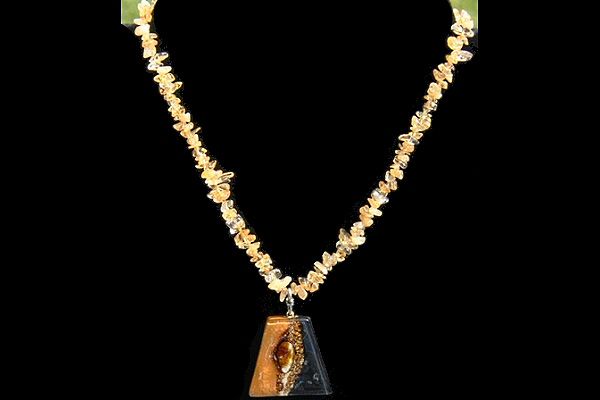 Citrine Quartz Necklace with Caramel Fused Glass