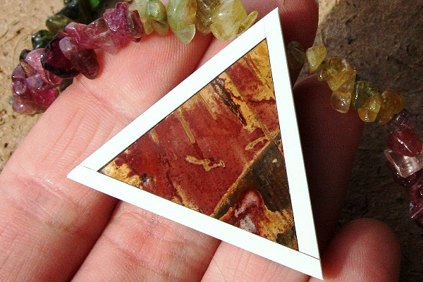 Picture Jasper Intarsia Triangle Pendant and Genuine Tourmaline Gemstone