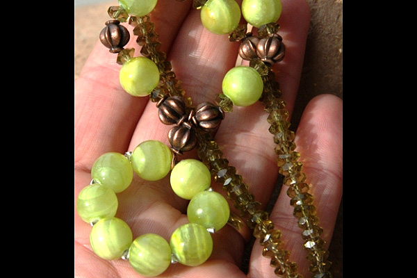 Peridot Gemstone Necklace with Apple Green Banded Agate