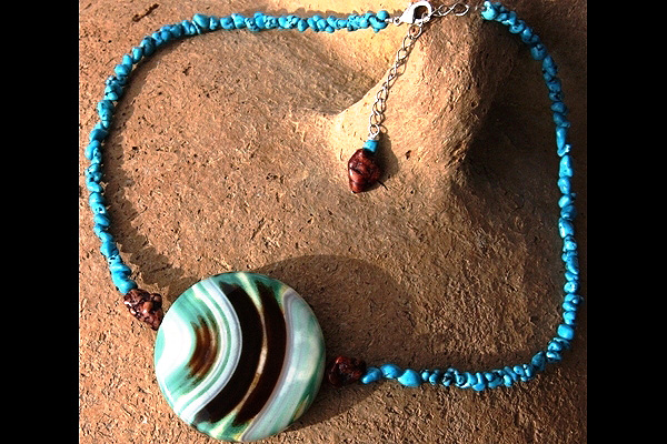 Colorful Onyx and Turquoise Necklace