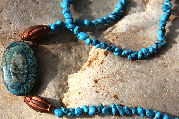 Sea Sediment Jasper and Turquoise Necklace