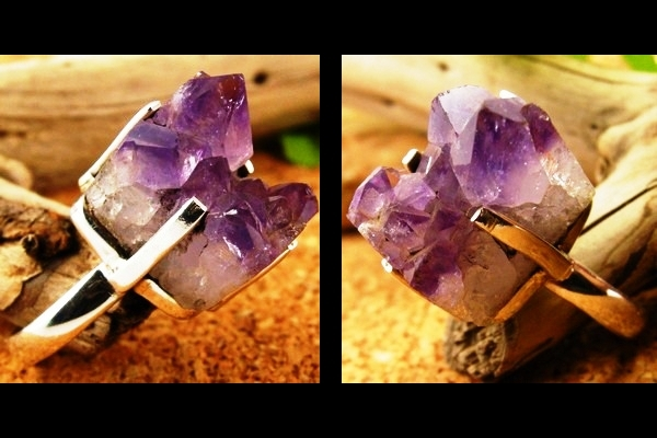 Huge Rough Amethyst Crystal Cluster Sterling Silver Ring