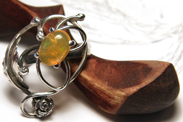 Exquisite Fire Opal Handcrafted Sterling Silver Ring