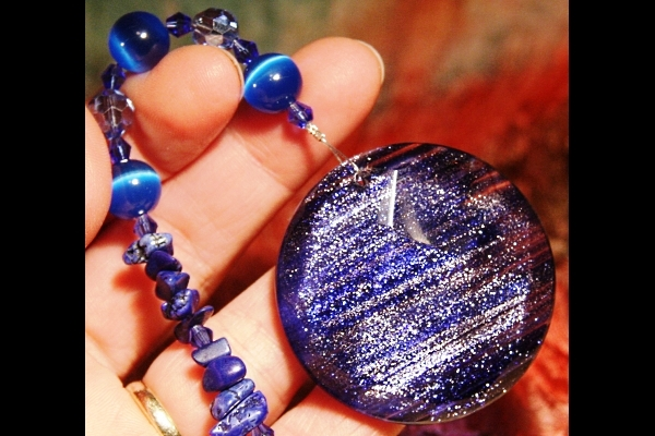 Cobalt Blue Sandstone with Lapis Lazuli and Cat`s Eye Suncatcher
